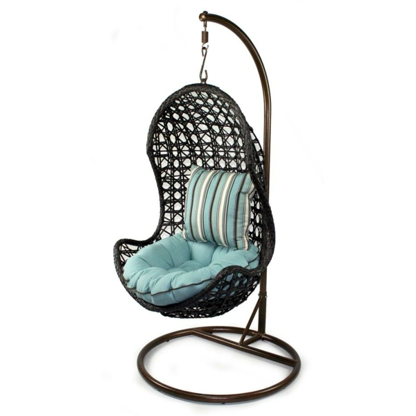 Turquoise Color 50 Basket Hanging Chair   Cool Interior Design Ideas For Hanging  Chair With Frame ...