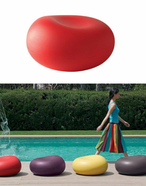 bright red seat cushions for strange living room or great pool design