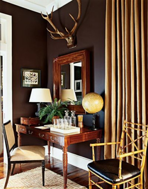 Wall color brown tones warm and natural interior for Decorating with dark colours