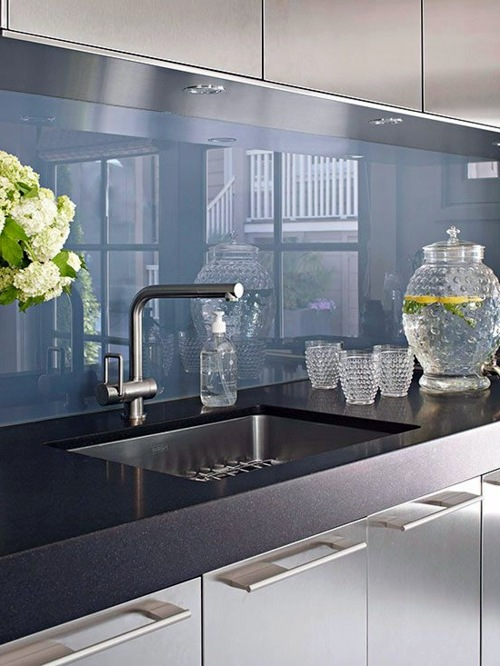 Glossy surfaces monochromatic 30 interior design ideas for kitchen glass  back wall