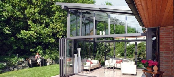 Balcony Or Terrace Glass Conservatory Build On A Beautiful Winter Garden Interior Design