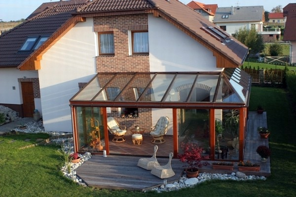 Balcony or terrace glass conservatory Build on a beautiful
