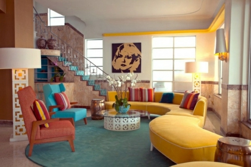 Wohnzimmer gestalten , Living room design ideas in retro style , 30 examples as inspiration