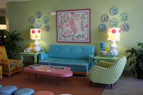 The Dot Pattern Is Definitely Retro Living Room Design Ideas In Retro Style    30 Examples As Inspiration