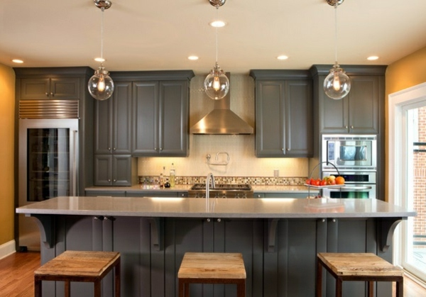 Modern Gray Kitchen Cabinets In Silver Shades Interior Design - Silver gray kitchen cabinets