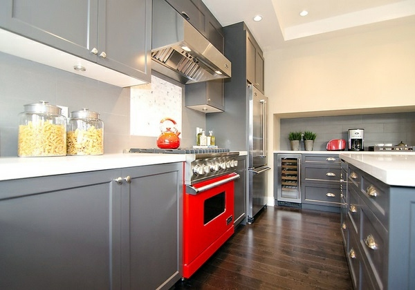 Modern Gray Kitchen Cabinets In Silver Shades Interior Design - Red and grey kitchen cabinets