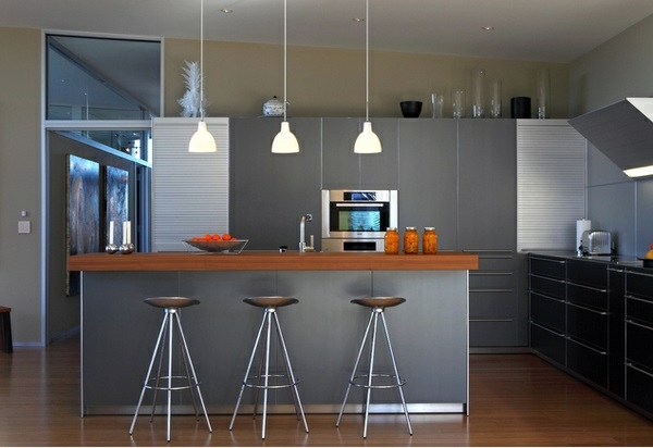Modern Gray Kitchen Cabinets In Silver Shades Interior Design - Matt grey kitchen cupboards