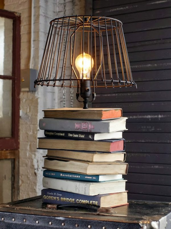 DIY Table Lamp With Base From Books