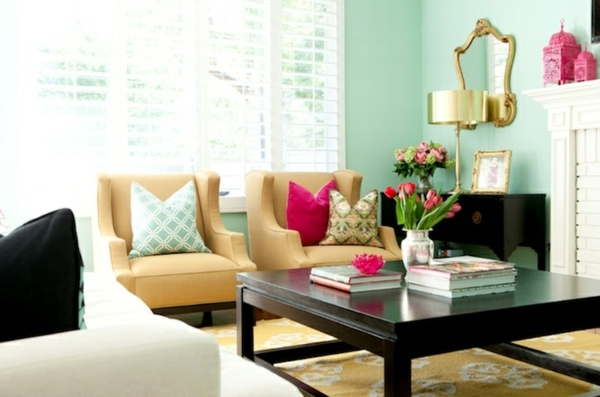 Pastel Green In The Living Room Wall Color Ideas   Create A Colorful Wall  Decoration