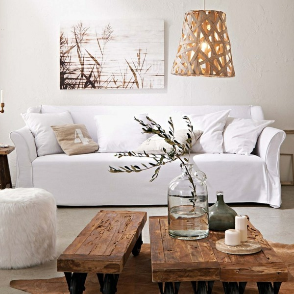 A wooden coffee table in the living room adds warmth and