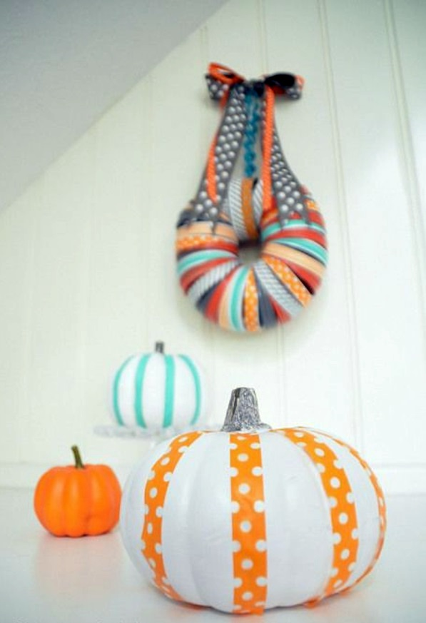 wrap and decorate pumpkins as gifts halloween decoration do it yourself festive craft ideas