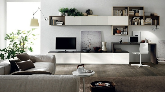 Living room interior design ideas in minimalist style ...