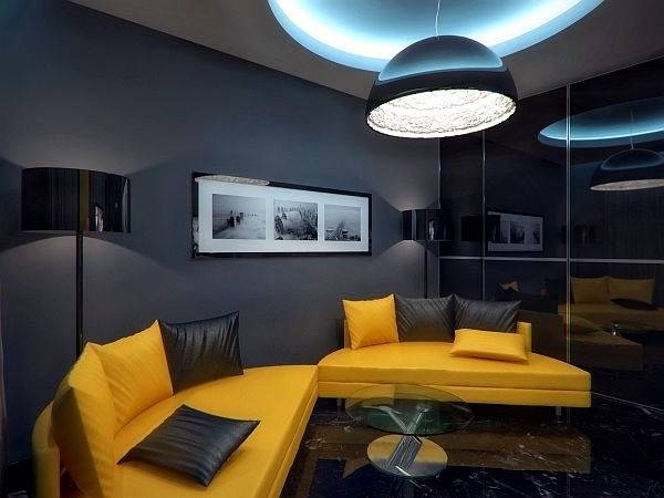 Gray, Frosted Wall Luxury Apartment In Yellow And Black