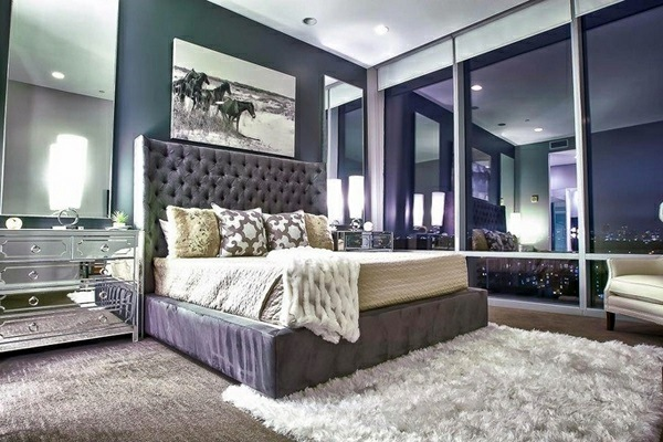 Bedroom Furniture And Bedside Tables With Mirror Surface