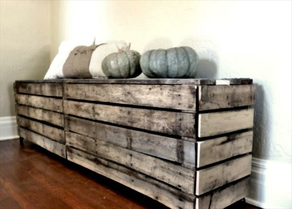 finished with pumpkins and pillows hallway bench in wood pallets lends a rustic touch