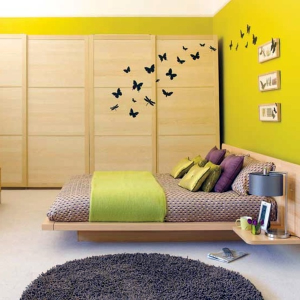 Sunny yellow-green Select bedroom wall color and make a modern feel