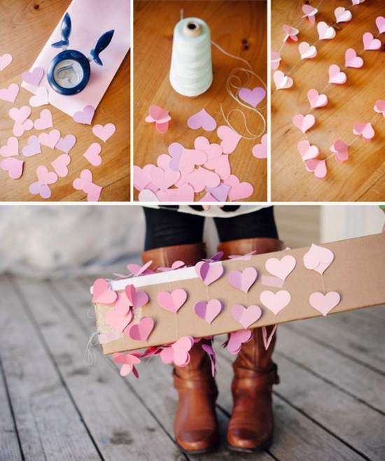 Delicate Pink Paper Hearts DIY Valentineu0027s Day Ideas For Your Romantic  Decoration