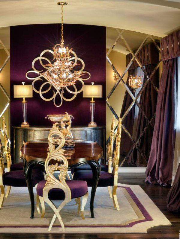 Design Luxury Dining In Purple And Gold Room