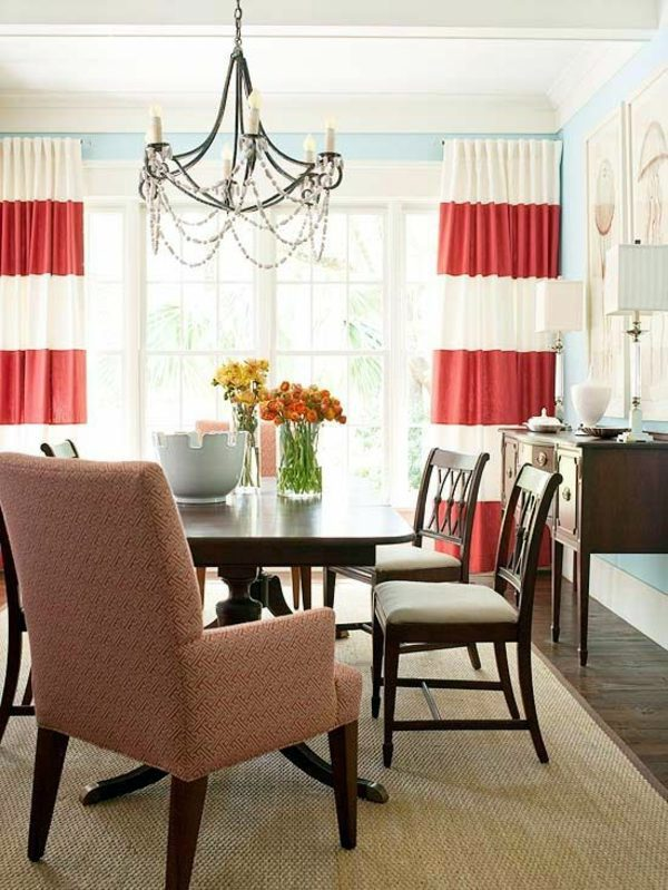 Curtains Red And White Stripes Dining Room Design