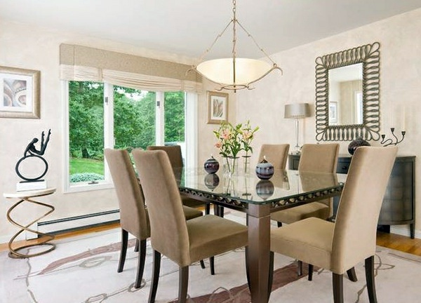 Elegant Upholstery Chairs Beige Dining Room Design