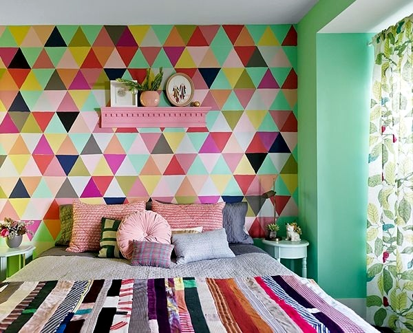 Create A Color Pattern Wall Color Mint Green Gives Your Living Room A  Magical Flair