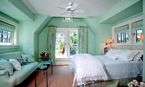 House Entirely Mint Green Pastel Wall Color Gives Your Living Room A Magical Flair
