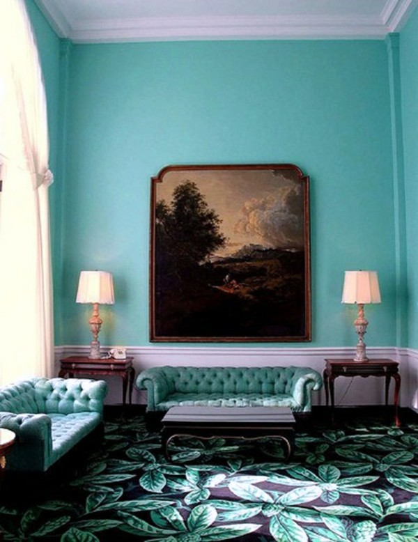 Turquoise In The Living Room Wall Color Mint Green Gives Your A Magical Flair