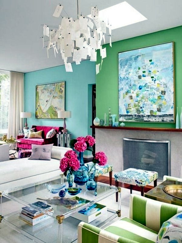 Wall Design In Blue And Green Wall Color Mint Green Gives Your Living Room  A Magical Flair