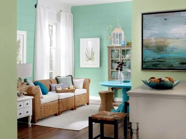 ... Wall color mint green gives your living room a magical flair