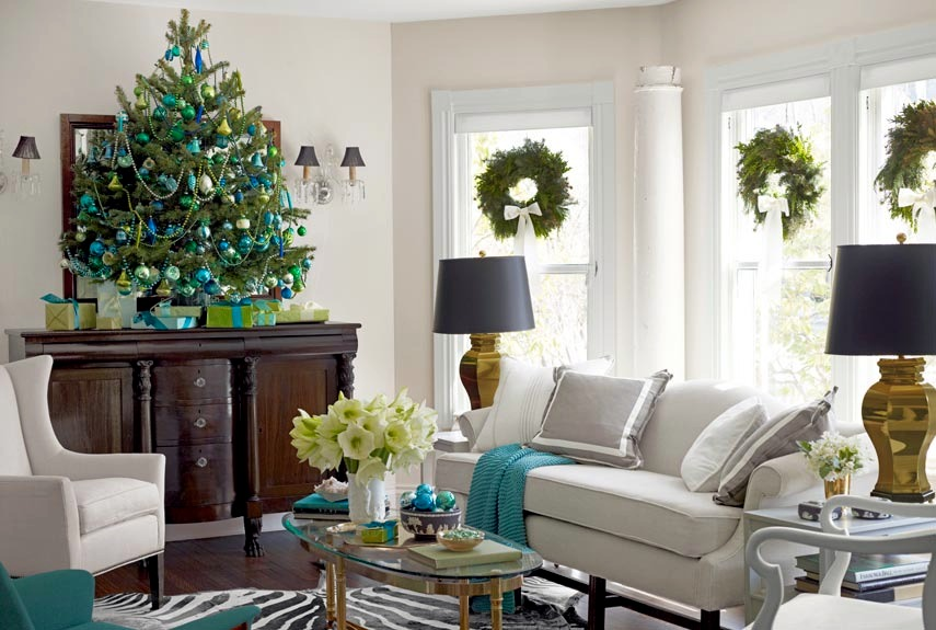 Ideas for decorating the living room for christmas Christmas decoration in living room