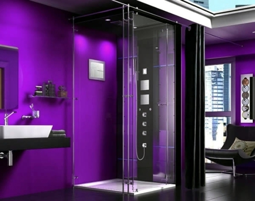 45 pictures of innovative steam showers for a modern for Dark purple bathrooms