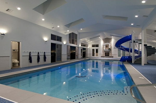 Home indoor pool with slide  Stylish ideas for the swimming pool at home | Interior Design ...