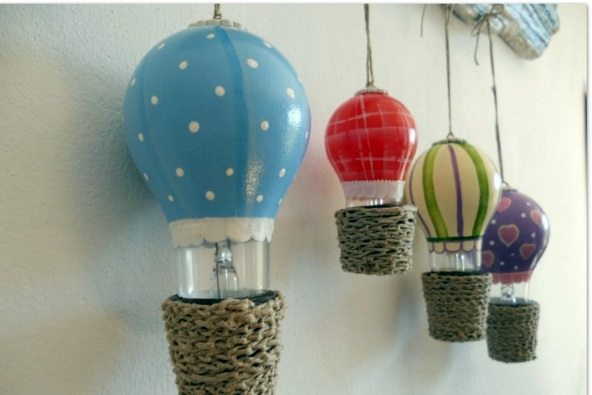 DIY decoration from bulbs – 120 craft ideas for old light bulbs ...:Balloons flying DIY decoration from bulbs - 120 craft ideas for old light  bulbs,Lighting