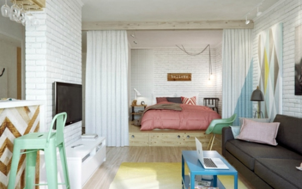 Cheerful Colors Use Curtain Room Divider