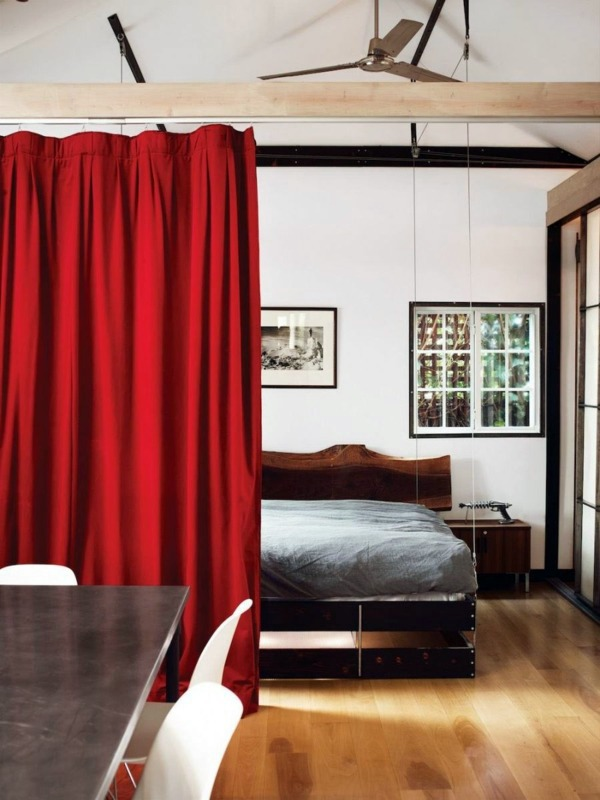 Thick Red Curtain Use Curtain Room Divider   Smart Home Design Ideas