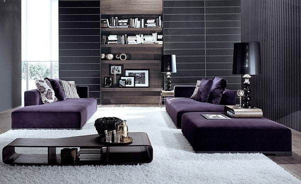 Dark Purple Lounge Atmosphere Luxury Living Room Set   70 Modern Interior  Design Ideas