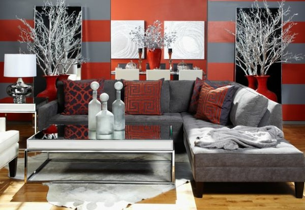 Red Grey Living Room Ideas Red Living Room Ideas Red Living - Large vases for living room