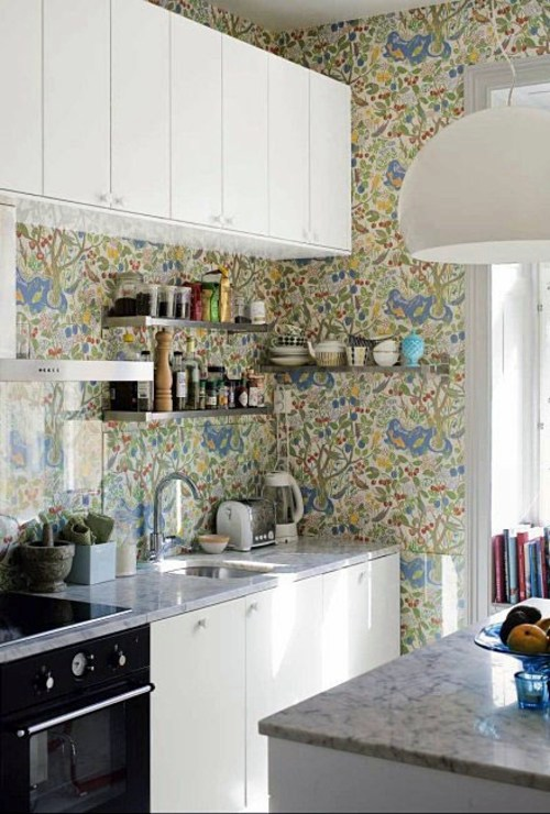 20 creative ideas for wallpaper in the kitchen area - Wallpaper Kitchen Ideas