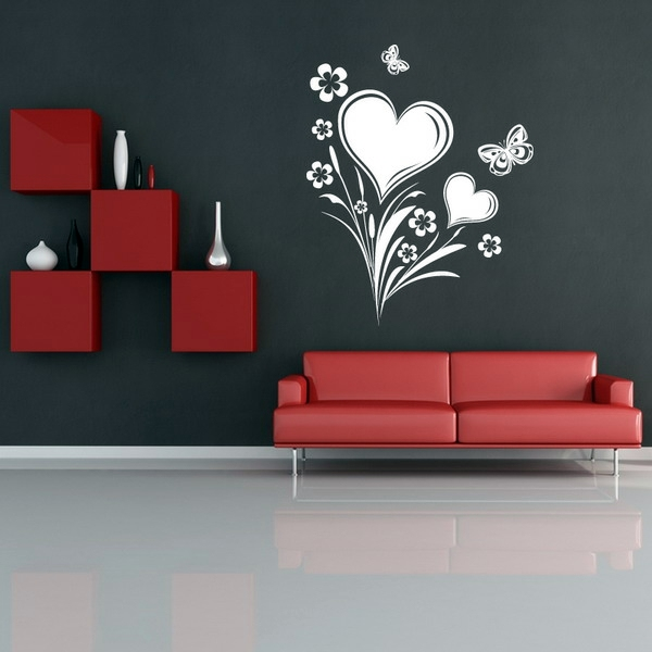 Superb Stencil Pattern With Hearts And Butterflies   A Cute Idea Painting Walls    Ideas For The Living Room Design Ideas
