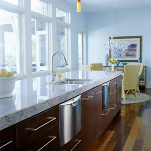Light Colored Granite For Bathroom: Unique Design Ideas For Kitchen With Many Windows