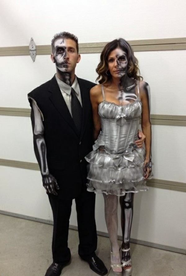 the couple skeleton halloween costumes unusual ideas and tips black and white