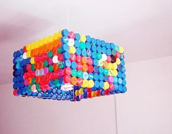 Extraordinary diy lamp from bottle caps interior design