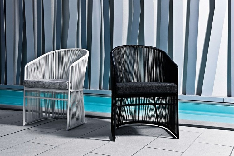 Comfortable Outdoor Black And White Chair Outdoor Lounge Furniture With  Italian Design