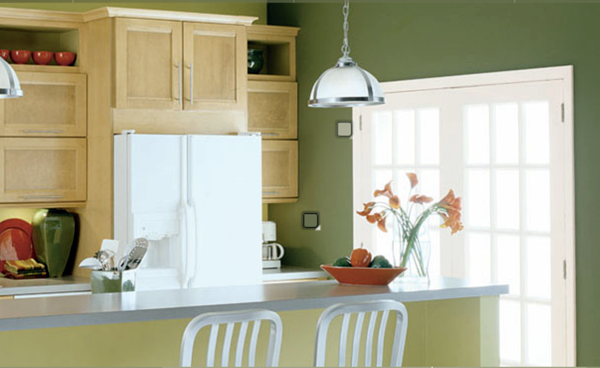 Bright And Fresh Atmosphere In The Kitchen Wall Color Olive Green Relaxes  The Senses And Fights Against Daily Stress