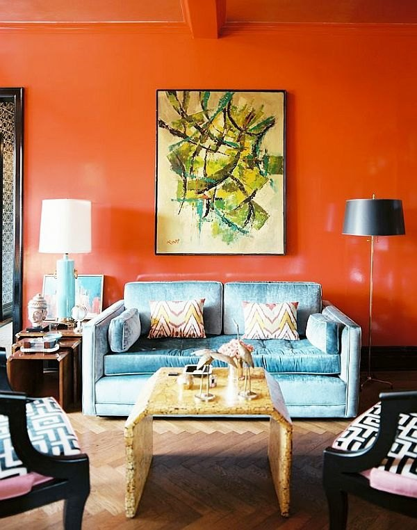 Paint walls paint ideas for orange wall design Interior design painting accent walls