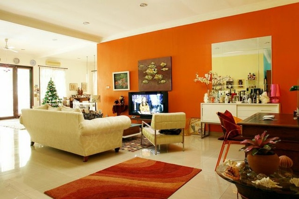 Orange Wall Paint Living Room Wwwimgkidcom The Image