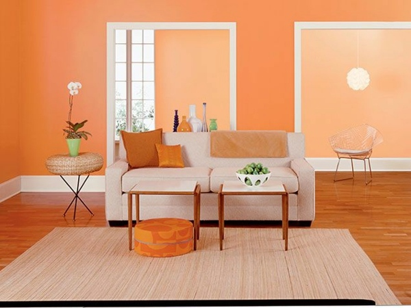 Paint walls paint ideas for orange wall design - Designer wall paints for living room ...
