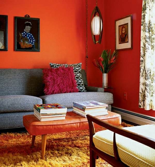 Paint walls paint ideas for orange wall design Orange and red living room design