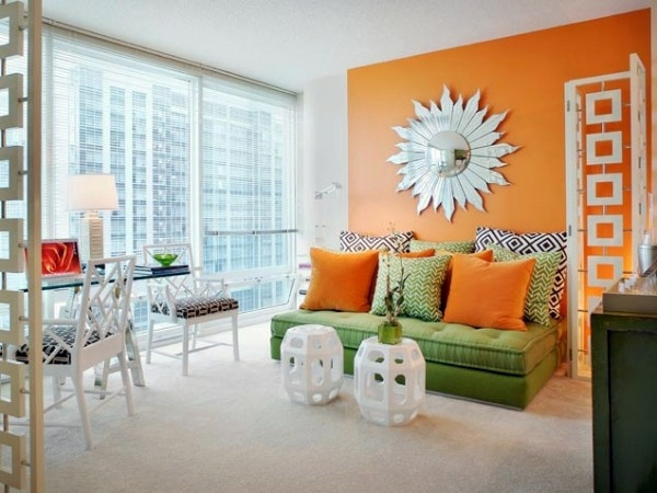 Paint walls paint ideas for orange wall design - Black and orange living room ideas ...