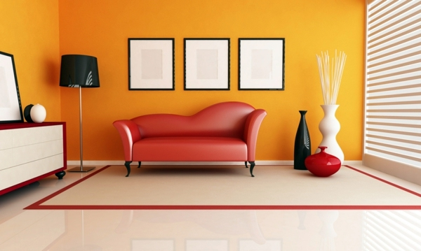 Delightful Virtual Representation For The Living Room Paint Walls   Paint Ideas For  Orange Wall Design